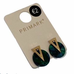 NWT Primark Green & Gold Tone Stud Earrings